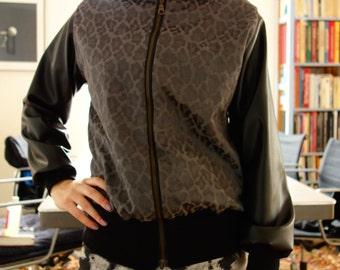 Leopard & fake leather jacket.