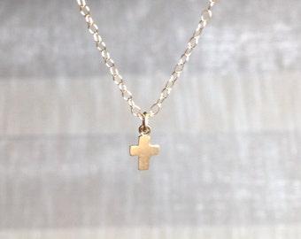 tiny cross necklace, minimalist necklace, tiny necklace, delicate necklace, gold filled cross necklace, barely there necklace