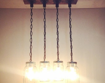 Rustic/Industrial/Modern Handmade Original Mason Jar Chandelier/Kitchen Lighting/Pendant Light/Rustic Kitchen/Bar/Farm/Cottage/Rustic Decor