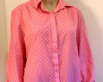 Vintage 1970's Lady Manhattan Salmon/Pink Playful Polka Dot Button Down Polyester Easy Care Blouse Size Med/Large