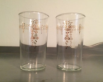 SALE Two Tumblers with Gold Art Deco Band and Floral Motif