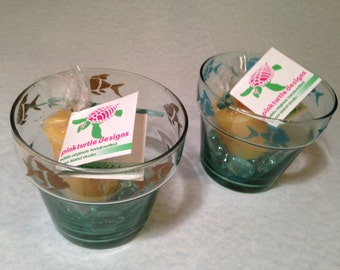 Mini Fish Flower Pot Set  • Undersea Fun • Rims Etched with Metallic Teal or Gold Fish • Includes a Votive Candle • Crafts by the Sea