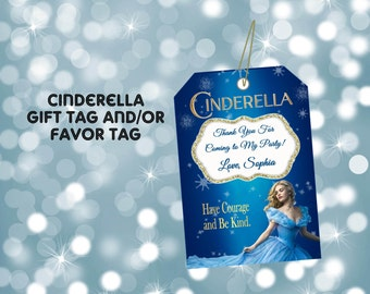 FAVOR TAG, CINDERELLA, personalized gift tags, favors, party tags, party favor