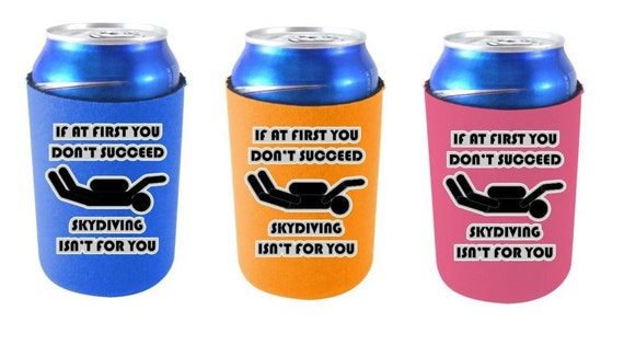 Funny Can Coolers ~ Skydiving funny can koozie coolie cooler by kmoutfitters