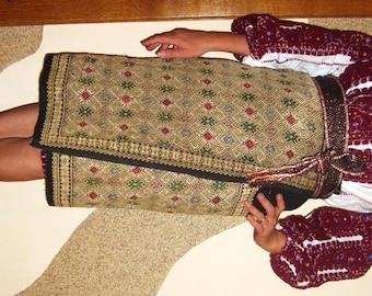 Antique Romanian hand embroidered costume , Romanian antique folk wear size M/L