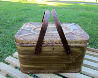 A Faux Wood, Metal Picnic Basket With Yellow Interior - Bent Wood Handle - Picnic - Ready to Go - Stack Up and Store
