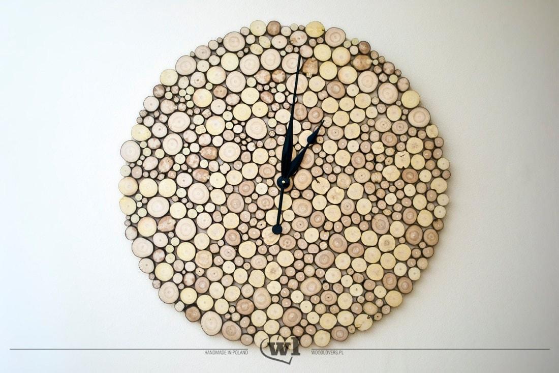 rondelles de bois grand mural horloge style scandinave peu. Black Bedroom Furniture Sets. Home Design Ideas
