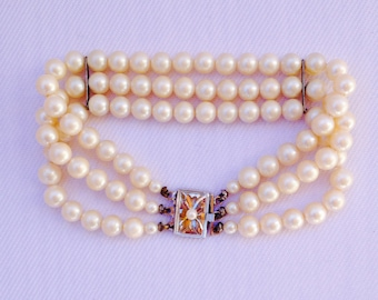 Vintage Pearl Bracelet: Wedding, Bride, Bridal Jewelry, Maid of Honor, Mother of the Bride