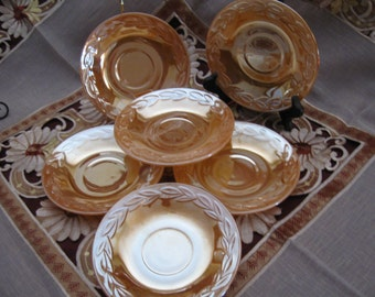 """Set of Six Vintage Anchor Hocking Fire King Peach Luster Laurel 6"""" Saucers - 2 sets Available"""