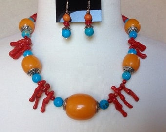 Amber, Coral & Turquoise Tribal Necklace Set