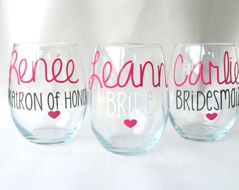 6 Personalized Bridesmaid Gifts, Wine Glasses, Stemless Wine Glasses, Gift for Bridesmaids, Bridesmaid Glasses