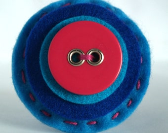 Felt Button Brooch-Blue Ombre Style-Pink-Button Brooch-Perfect For Brightening Your Wardrobe