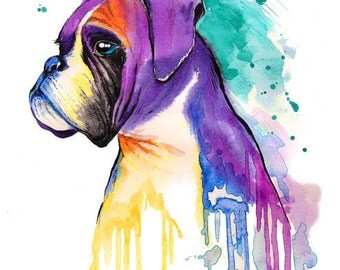 Boxer Dog Art Print 8 x 10-boxer dog gifts - Dog Art - Dog Print- Dog Wall Art - dog decor, dog painting, dog artwork