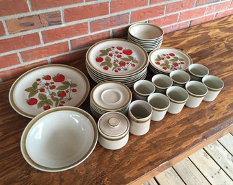 Vintage 40 Piece Set of Country Living Strawberry Patch Dinnerware by International