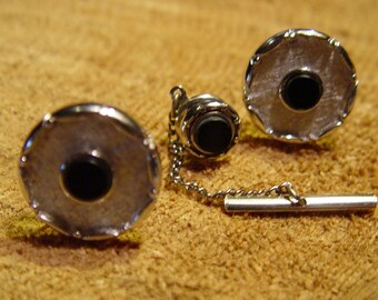 Vintage 1940's Swank Men's Black Onyx and Silver Cuff Links and Tie Pin ~ Striking Set