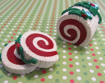 American Girl Doll Buche de Noel Yule Log Cake Roll Christmas Polymer Clay Food