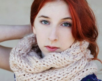 Wool cowl/ cable knit cowl/  Large cowl / Chunky knit snood