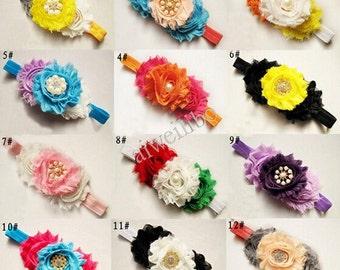 1pcs Shabby Flower Headband, Baby headband,  Newborn Headband, Shabby Chic Headband