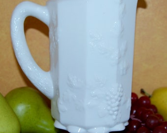 Paneled Grape Milk Glass Pitcher by Westmoreland