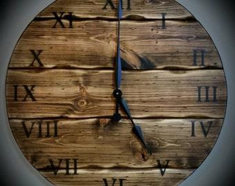 Espresso Stained Rustic Clock 24in Diameter