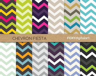 chevron digital paper pack, digital paper scrapbook, digital chevron paper, 12 printable jpeg papers, PNG, 300 dpi, instant download- DP05