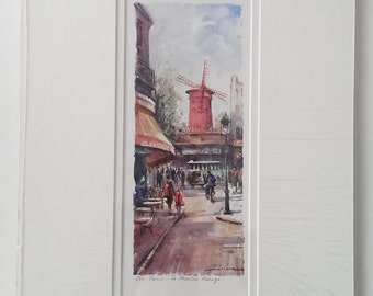 """Wall Decor, French Vintage Matted Art Print Reproduction, 544 Paris - Le Moulin Rouge by Delarue (10.5"""" x 16"""")"""