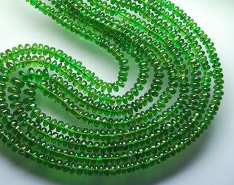 AAA Quality  14'' Natural Russian Chrome Diaopside Smooth Polished Rondelles Size 3.5-4.5mm