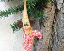 Snowman gourd art hand painted rustic snowman with brown earmuffs and gingham scarf by Debbie Easley