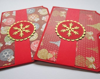 Christmas Gift Card Holders, Gift Card Envelopes, Gift Certificate Holders, Money Holders, Holiday Gift Card Holders, Set of 2, Red Gold