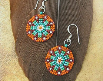Seed Beaded Earrings, Mandala Design,  Delicate Turquoise Orange Earrings, Handmade Circular stitch.