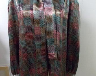 La Chine Classic by Galinda Wang Womens Blouse with Tie Silky Sheen Fabric Sz 10