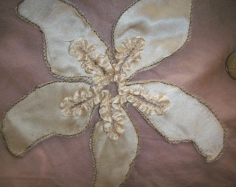 1800s antique lace and silk starfish embroidered applique