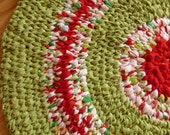 Spring Green READING RUG in wonderful Lime and Red.