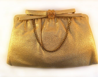 1950's Gold Lame Evening Clutch - After Five