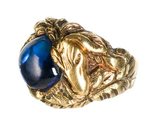 14k Handmade ring with blue sapphire cabochon size 7.5