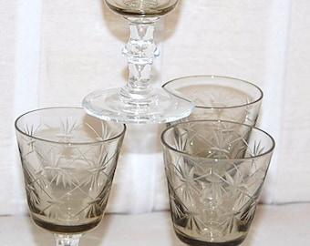 Liquor Smoky Topaz Glass set of 4 Deep Cut