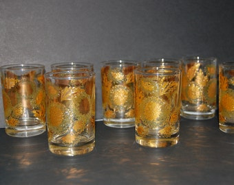 Heavy Gold on crystaal juice glasses set of 8 mid century modern crysanthemum pattern