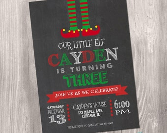 Elf Birthday Invitation, Elf Invitation, Little Elf Invitation, Winter Birthday Invitation, Christmas Birthday Invitation, Printable