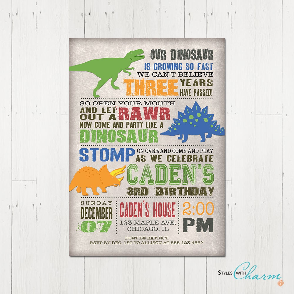 Dinosaur Birthday Invitation Etsy