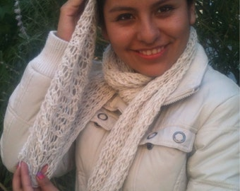 Alpaca scarf - Handknit, white, slim and light - coupon code for 15% discount on orders of 100 dollars plus: 15PERCENTOFF