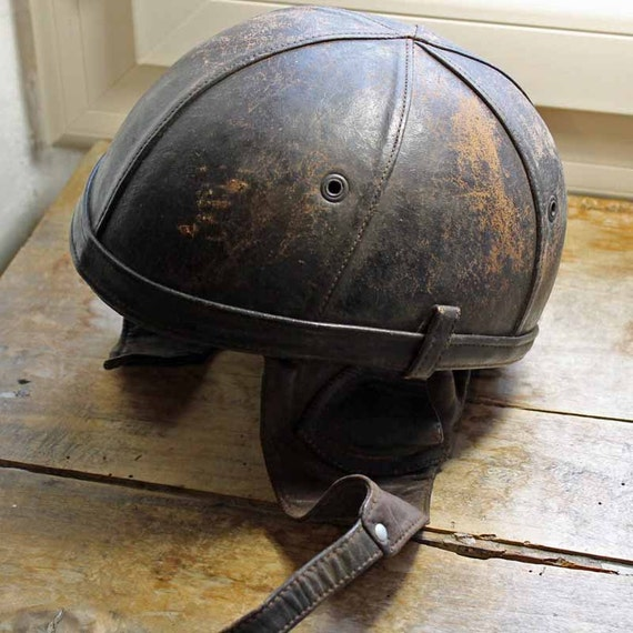 Vintage Bayard leather Motorcycle helmet 1950s Vintage Crash