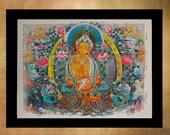 Buddhist Mandala Dictionary Art Print Zen Buddhism Tibetan Meditating Wall Art Home Decor Fine Tibet Meditation da636