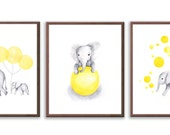 Elephant Nursery Decor, Baby Nursery Art, Set Of Three Elephant Prints, Yellow and Gray Nursery, Elephant Art Prints - S025