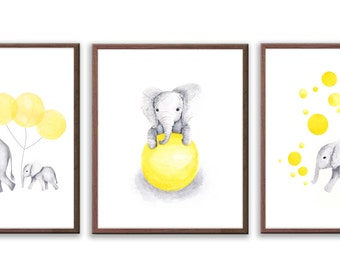 Elephant Nursery Decor, Baby Nursery Art, Set Of Three Elephant Prints, Yellow and Gray Nursery, Elephant Art Prints - S025