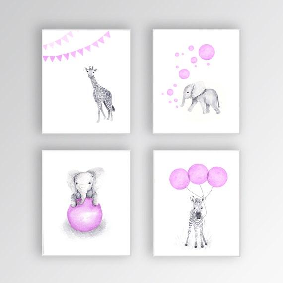 Canvas Art Elephant Nursery Decor Baby Girl Nursery Art