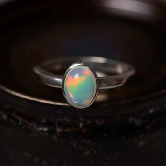 Natural Opal Ring Silver Engagement Promise Ring Birthstone