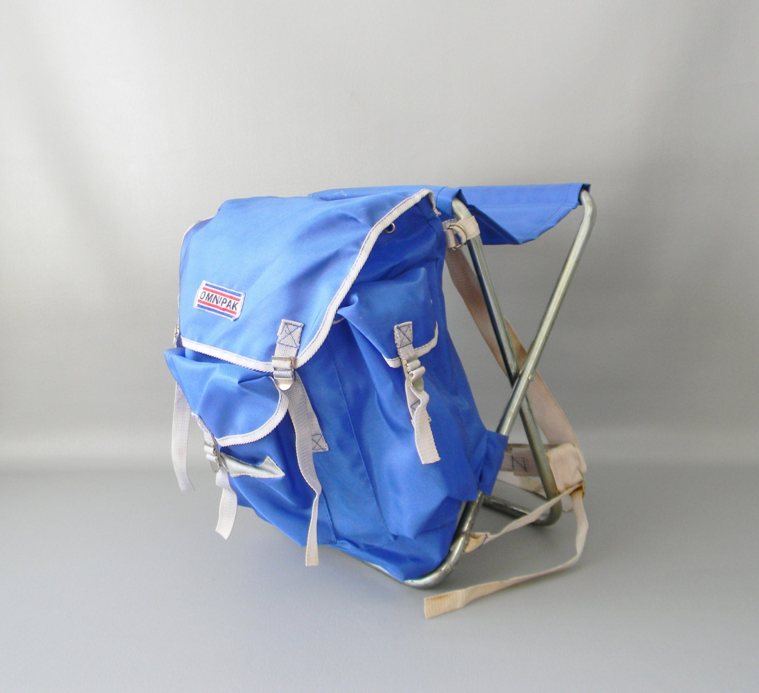Vintage Blue Backpack Camping Chair