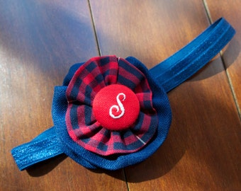 """School Uniform Flower Clip AND Stretchy Headband (Upcycled)- The """"Candice"""" Standard AS SHOWN"""