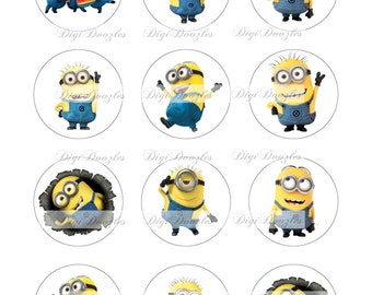Minions - 2 inch circles images - 8.5 x 11 sheet