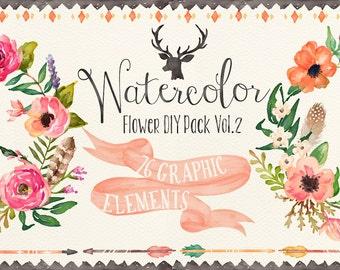 Watercolor flower DIY pack Vol.2(Big bundle)